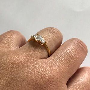 💎5/$40 Gold Overlay 3 Stone CZ WeddingRing Size 9